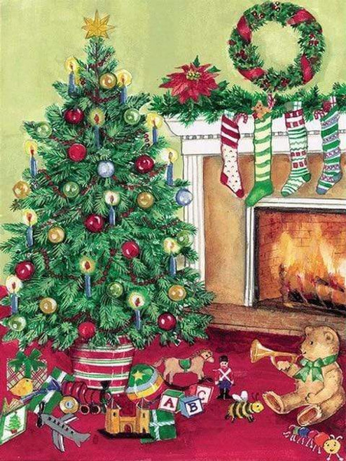 5D Diamond Painting Stockings by the Fire Kit
