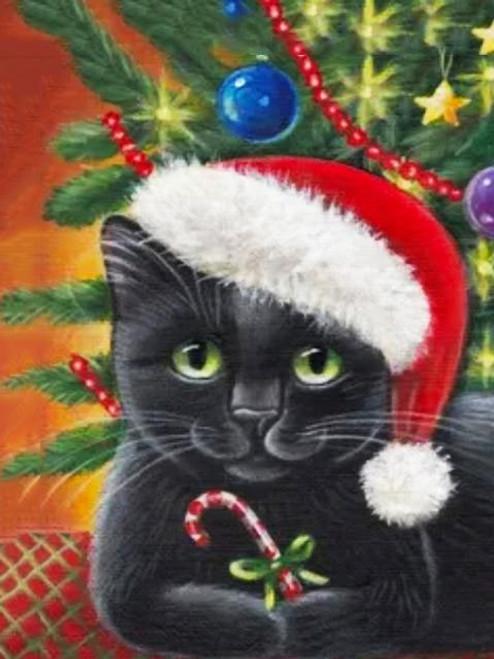 5D Diamond Painting Black Cat in a Santa Hat Kit
