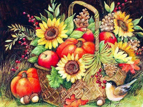 5D Diamond Painting Sunflower Pumpkin Basket Kit
