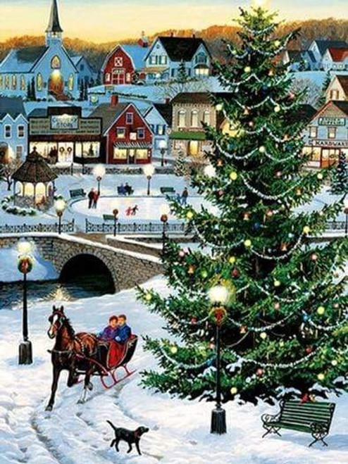 5D Diamond Painting Christmas Tree Sleigh Kit
