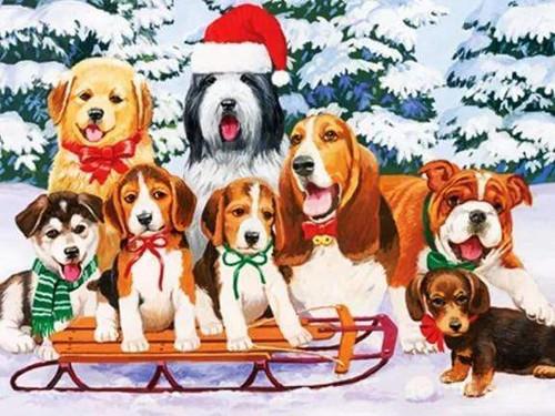 5D Diamond Painting Christmas Sled Puppies Kit