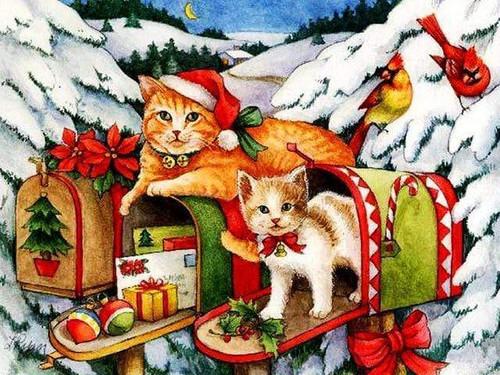 5D Diamond Painting Christmas Mailbox Cats kit