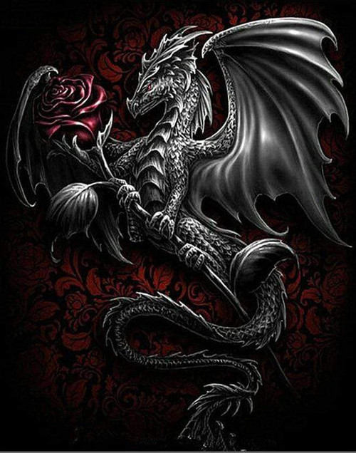 5D Diamond Painting Dragon and a Red Rose Kit