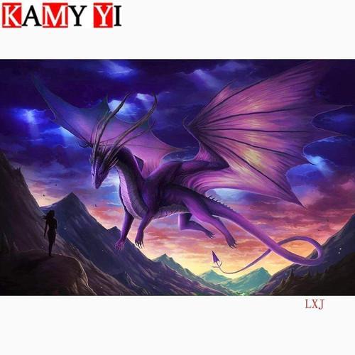 5D Diamond Painting Purple Dragon in the Sky Kit