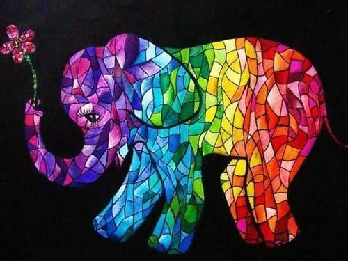 5D Diamond Painting Abstract Rainbow Colored Elephant Kit