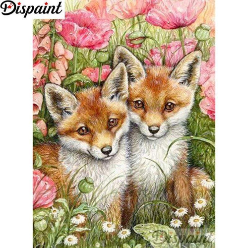 5D Diamond Painting Two Little Foxes Kit