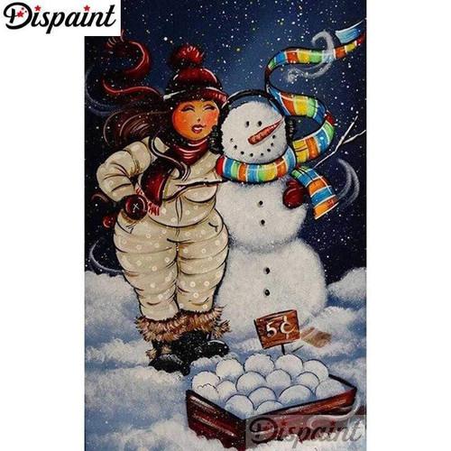 5D Diamond Painting Curvy Girl Snowballs Kit