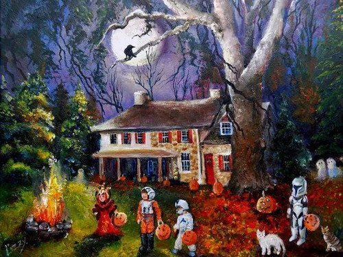 5D Diamond Painting Yard Fire Trick or Treaters Kit