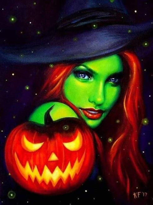 5D Diamond Painting Green Witch and Jack-o-Lantern Kit