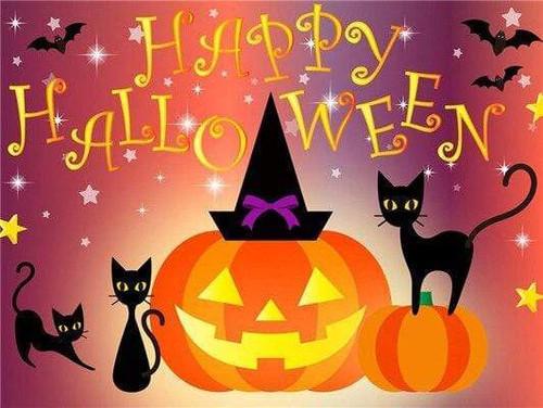 5D Diamond Painting Black Cat Happy Halloween Kit
