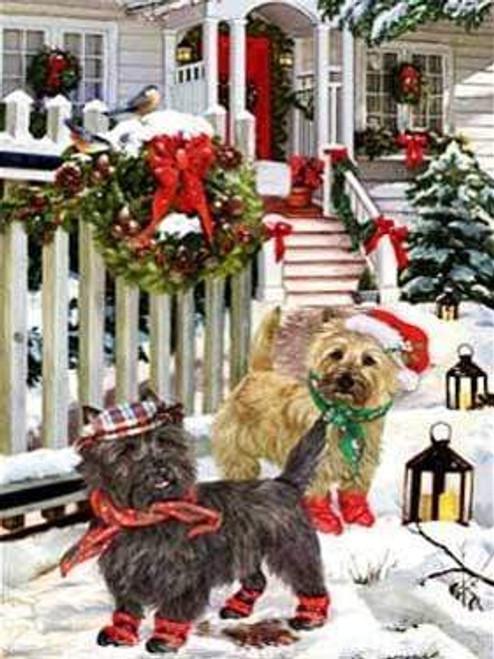5D Diamond Painting Two Dogs Christmas Wreath Kit