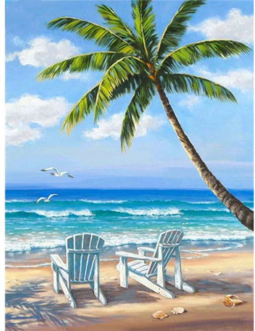 5D Diamond Painting White Chairs on the Beach Kit