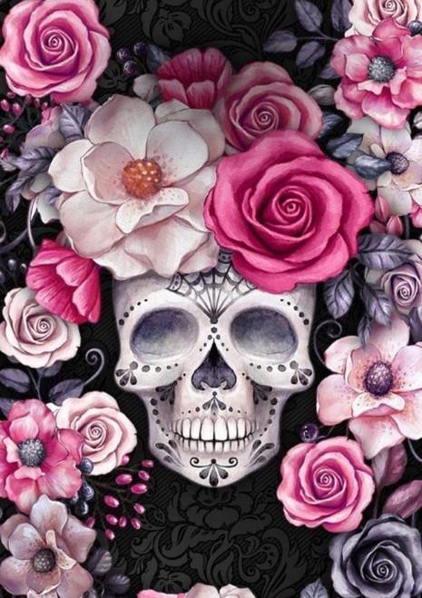5D Diamond Painting Pink Rose Skull Kit