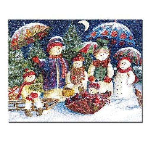 5D Diamond Painting Snowmen with Umbrellas Kit