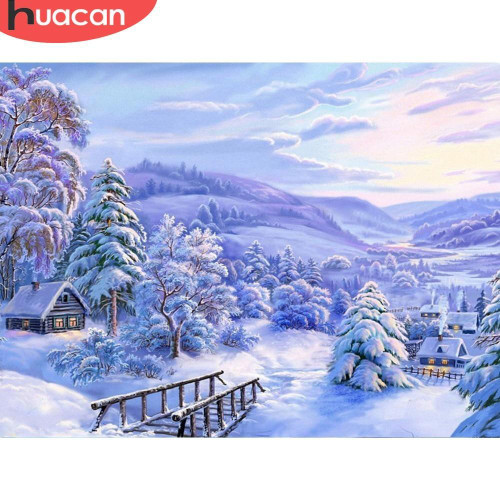 5D Diamond Painting Snowy Trees and Mountains Kit