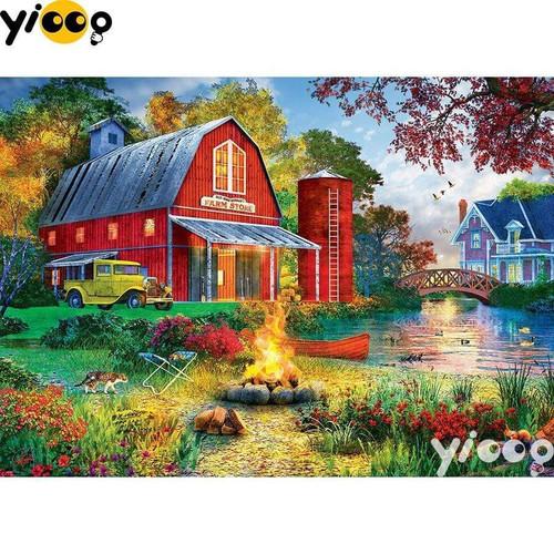 5D Diamond Painting Farm Store Bonfire Kit