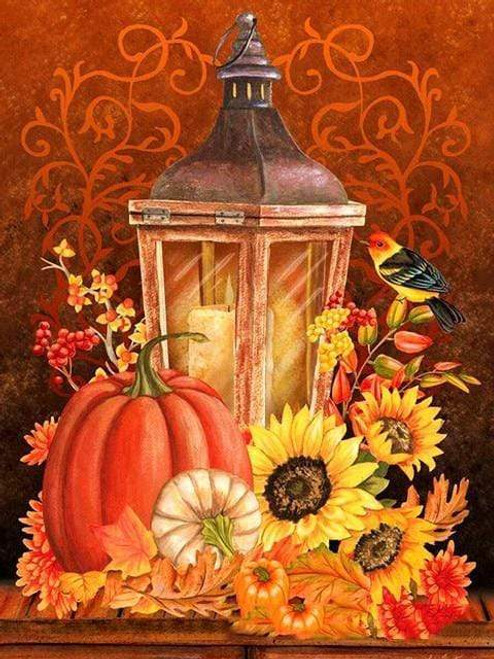 5D Diamond Painting Western Tanager by a Fall Lantern Kit