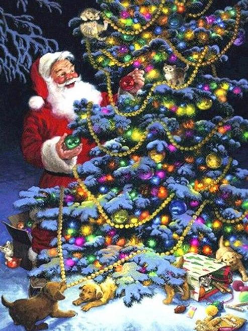 5D Diamond Painting Santa Tree Trimming Kit