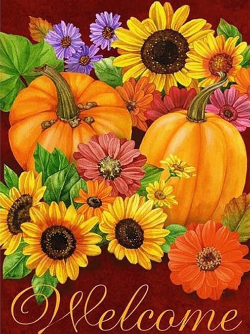 5D Diamond Painting Pumpkin and Flowers Welcome Kit