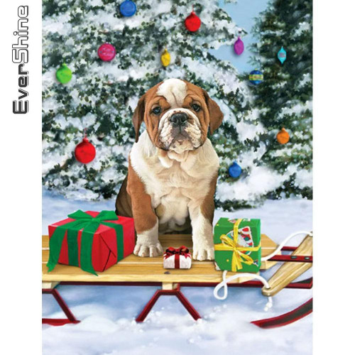5D Diamond Painting Bulldog Puppy Sled Kit