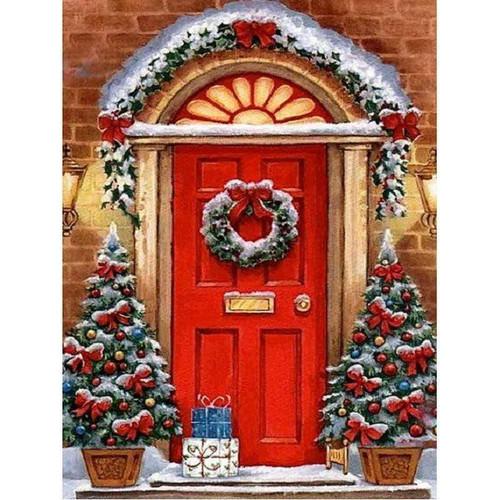 5D Diamond Painting Red Door Christmas House Kit