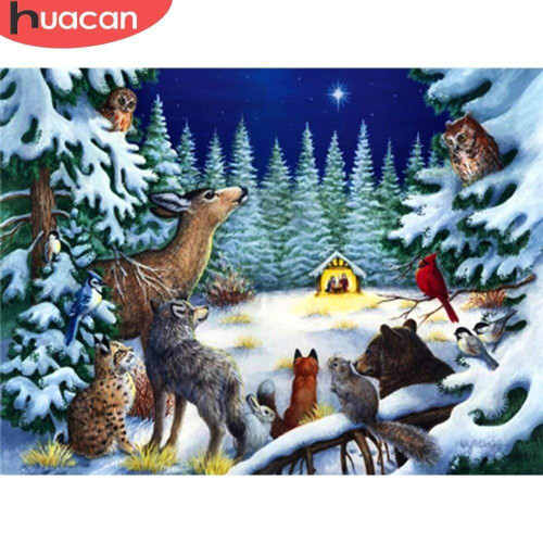 5D Diamond Painting Animals and the Christmas Star Kit