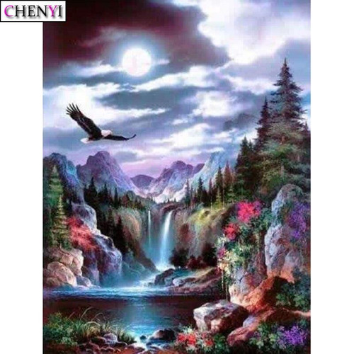 5D Diamond Painting Eagle Over the Waterfalls Kit
