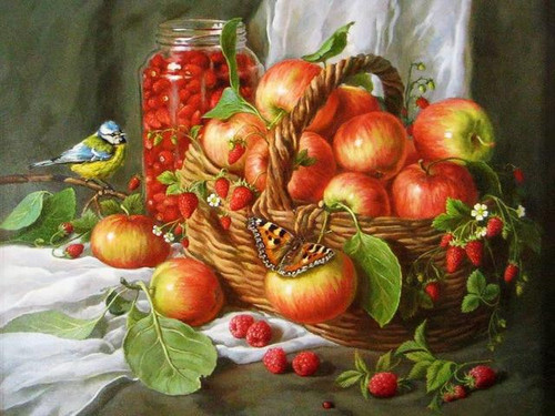 5D Diamond Painting Butterfly and Bird by the Apples Kit
