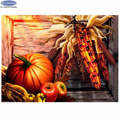 5D Diamond Painting Indian Corn & Pumpkins Kit