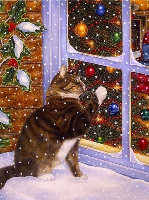 5D Diamond Painting Christmas Window Cat Kit