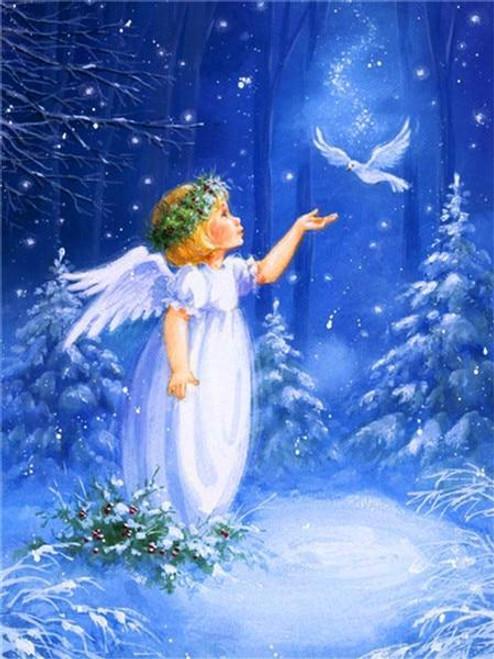 5D Diamond Painting Christmas Angel & Dove Kit