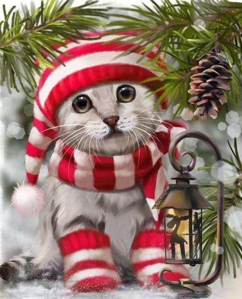 5D Diamond Painting Red & White Scarf Kitten Kit