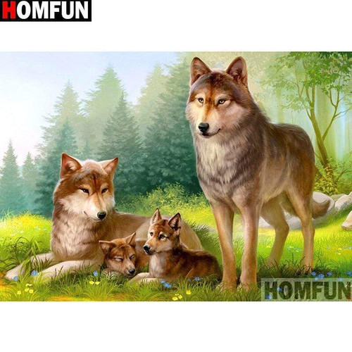 5D Diamond Painting Wolves in the Grass Kit