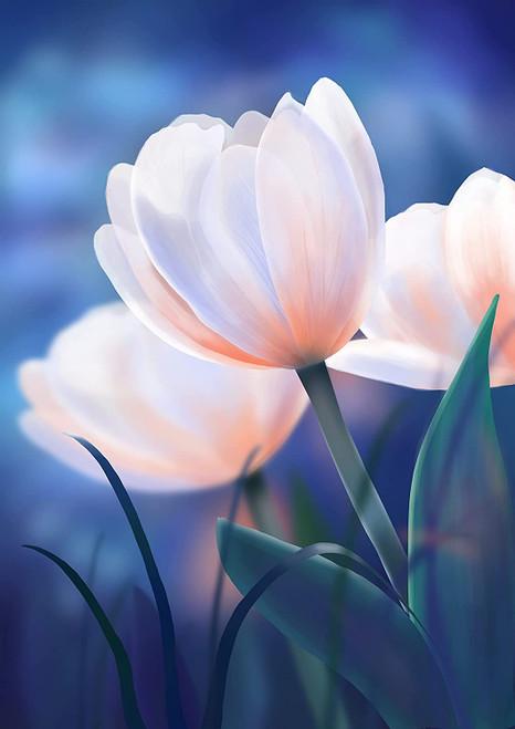 5D Diamond Painting White Tulip Kit