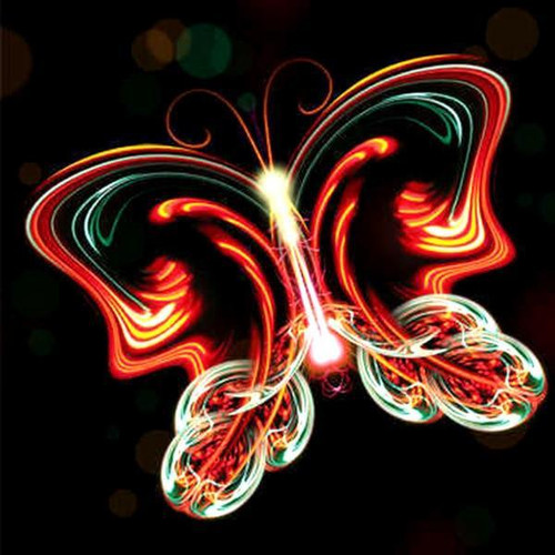 5D Diamond Painting Orange Glowing Butterfly Kit