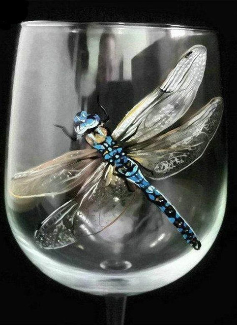 5D Diamond Painting Dragonfly in a Glass Kit