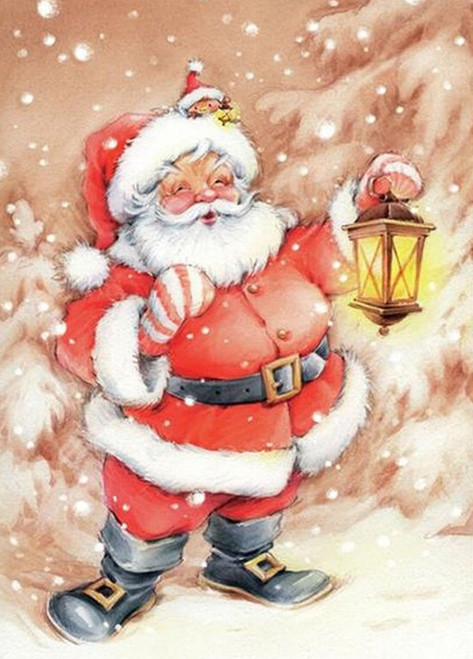 5D Diamond Painting Santa with a Lantern Kit