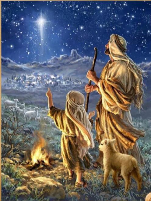 5D Diamond Painting Christmas Star and Shepherds Kit