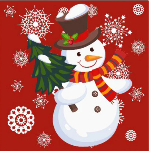 5D Diamond Painting Red Background Snowflake Snowman Kit