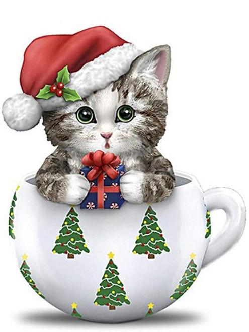 5D Diamond Painting Kitten Christmas Cup Kit