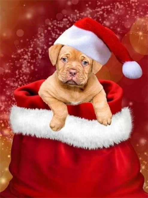 5D Diamond Painting Red and White Christmas Hat Puppy Kit