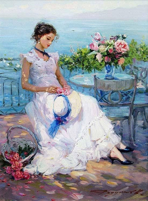 5D Diamond Painting Girl Sitting by the Water Kit