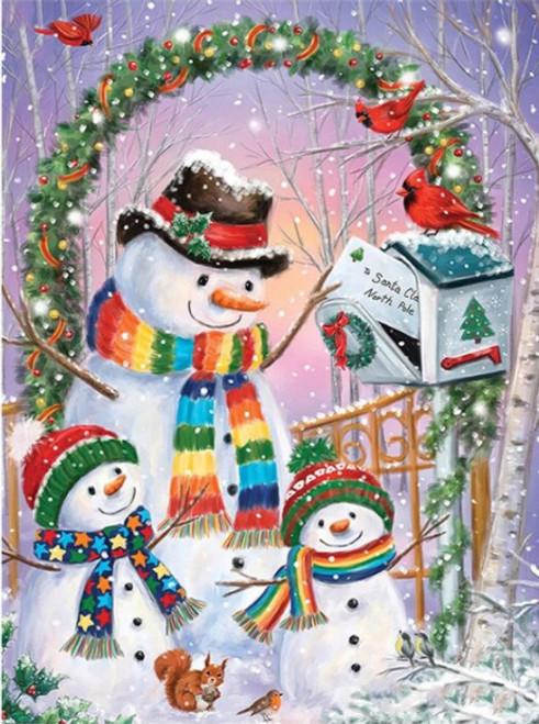 5D Diamond Painting Rainbow Scarf Snowmen Kit