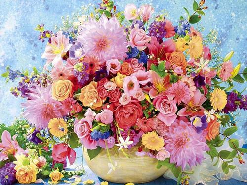 5D Diamond Painting Yellow Bowl Vase Bouquet Kit