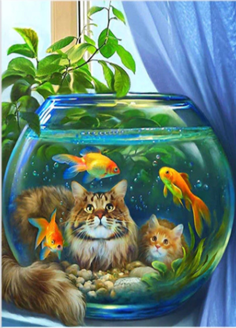 5D Diamond Painting Two Cats and a Fish Bowl Kit