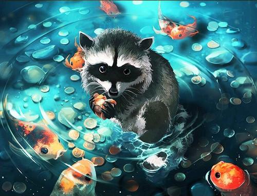 5D Diamond Painting Koi Fish Pond Bandit Kit