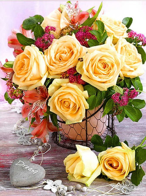 5D Diamond Painting Yellow Rose Bouquet Kit