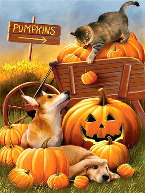5D Diamond Painting Pumpkins Falling Cat & Dogs Kit