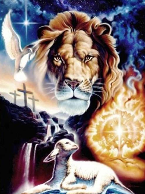 5D Diamond Painting Lion, Lamb and Holy Spirit Kit