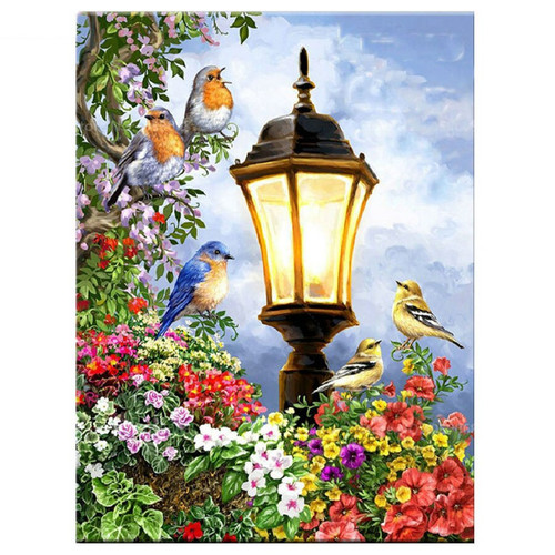 5D Diamond Painting Five Birds by the Lantern Pole Kit